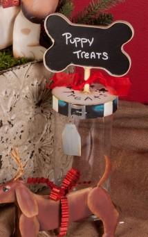 Dog Treat Jar with Christmas Ribbon