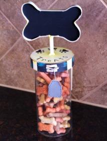 Dog Treat Jar Includes Glass Jar and Metal Lid